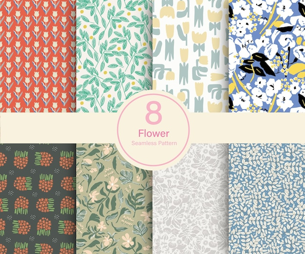 ベクトル花植物テーマイラスト8種類リピートパターンコレクションセットキッチンプリント