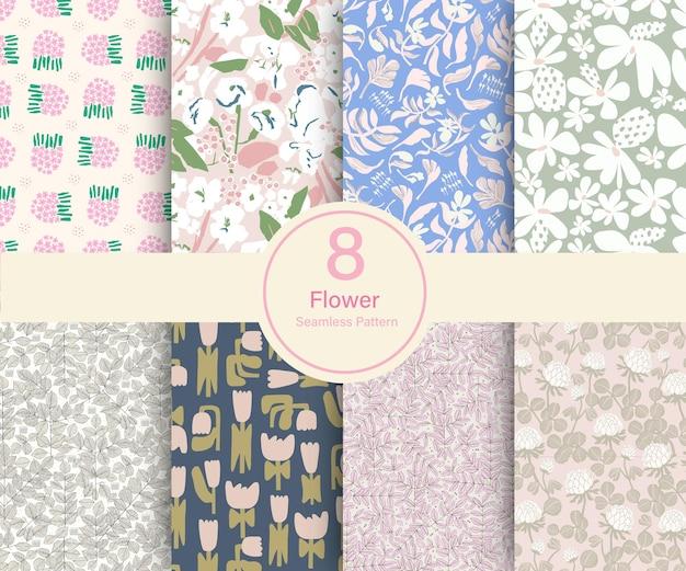 ベクトル花植物テーマイラスト8種類リピートパターンコレクションセットキッチン