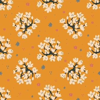 벡터 꽃 그림 모티브 원활한 반복 패턴 밝은 보라색 파란색 배경