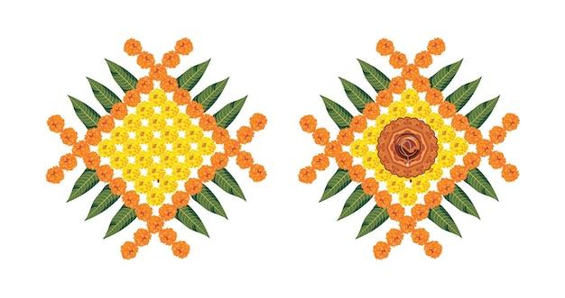 粘土オイルランプとディワリ祭またはポンガルのベクトル花ランゴーリー