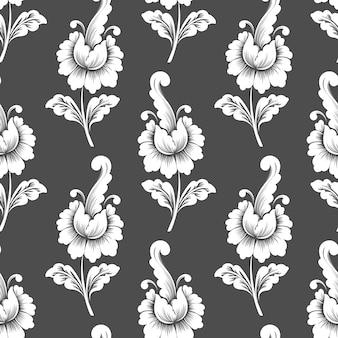 Векторный цветок бесшовный фон фон. классический роскошный старинный растительный орнамент, бесшовная текстура для обоев, текстиль, упаковка.