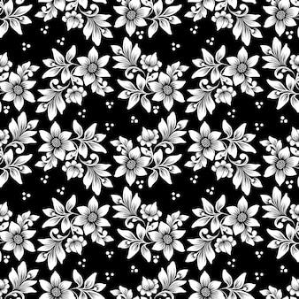 ベクターの花のシームレスなパターン背景。背景のエレガントなテクスチャ。クラシックな高級昔ながらの花飾り、壁紙、テキスタイル、ラッピングのシームレスなテクスチャ。