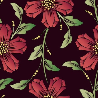 Элемент вектора синхронизации цветок бесшовные модели. элегантная текстура для фонов. классический роскошный старинный растительный орнамент, бесшовная текстура для обоев, текстиль, упаковка.