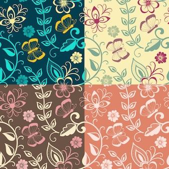 Вектор цветок бесшовные шаблон элемент. элегантная текстура для фона. классический роскошный старомодный цветочный орнамент, бесшовная текстура для обоев, текстиль, упаковка.