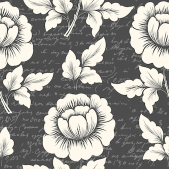 Vector flower seamless pattern element with ancient text.