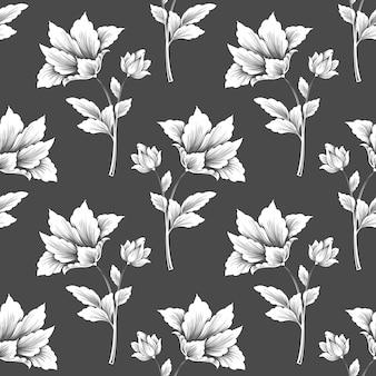 花のシームレスなパターンベクトル