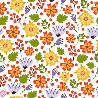 Vector flower summer colorful pattern