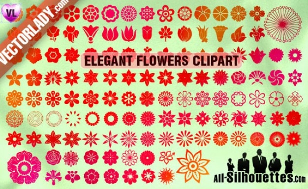 Vector flowers clipart silhouettes