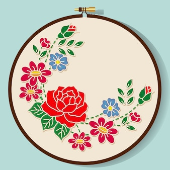 Vector Flowers Embroidery Style