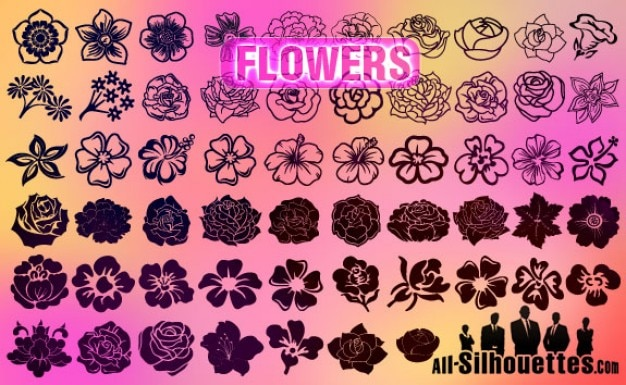 Vector flowers silhouettes