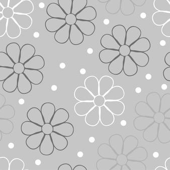 Цветочный узор вектор. бесшовный цветочный фон для упаковки, текстиля, обоев. серые цвета