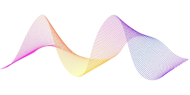 Vector flowing wavy lines with rainbow gradient color digital frequency track and voice equalizer