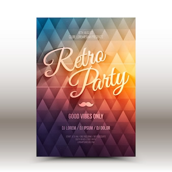 Vector flyer design template retro party