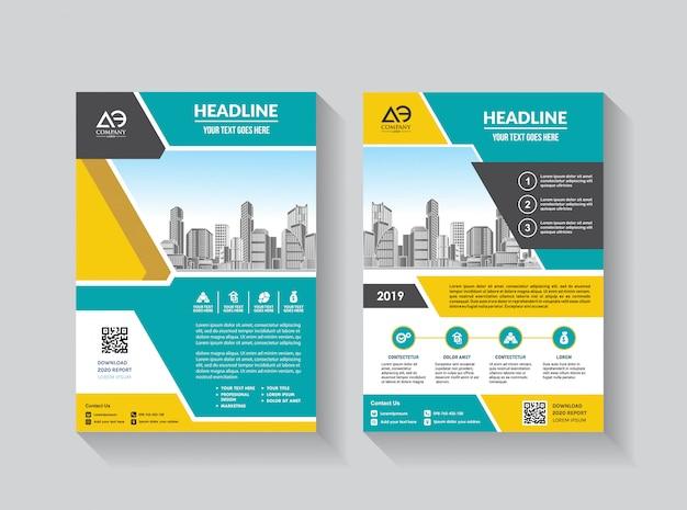 ビジネスパンフレット年次報告書のベクトルチラシテンプレートレイアウト設計