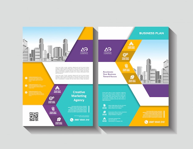 ビジネスパンフレットのベクターチラシテンプレートレイアウト設計
