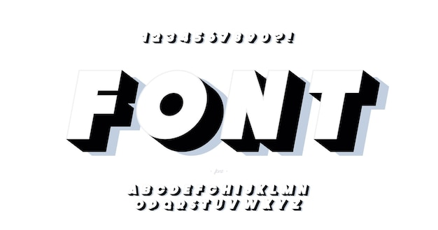 Vector font 3d bold style modern typography for infographics, motion graphics, video