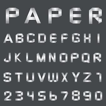 Векторный шрифт алфавит бумаги