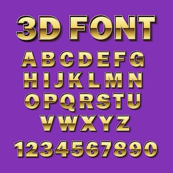 Vector font gold. gilded typography. alphabet and numbers.