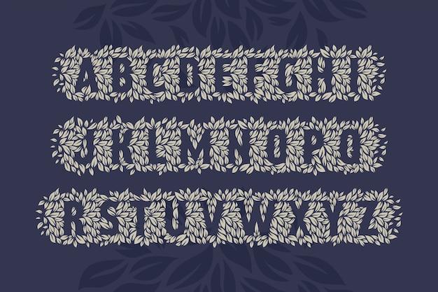 Векторный набор шрифтов из листьев