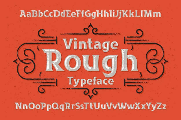 Vector font set with rough effect