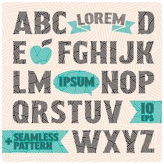 패턴 채우기 및 디자인 요소가있는 벡터 글꼴
