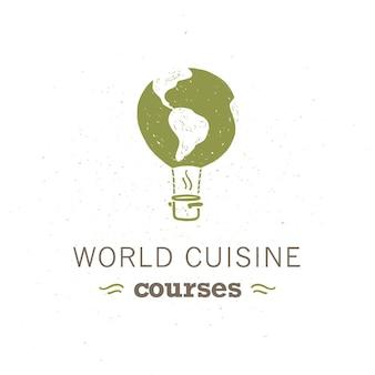 空飛ぶ気球、その上に世界地図、白い背景で隔離の鍋アイコンとベクトル食品クラスのロゴデザインテンプレート。手描きスタイル。世界の料理コース、料理ワークショップの記章など。