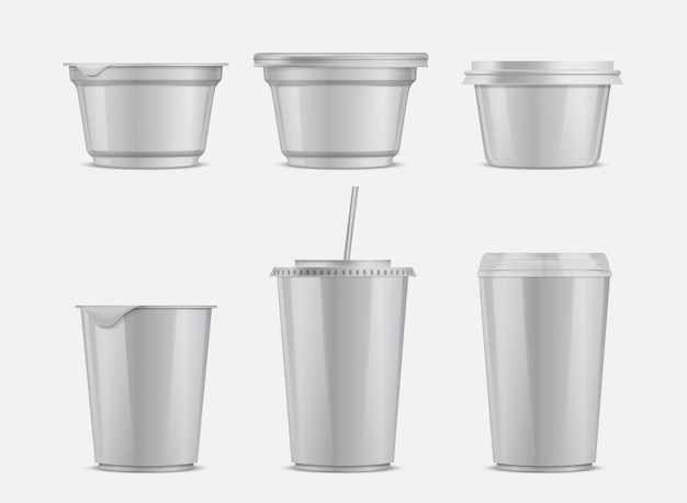 Vector food and drink plastic container set