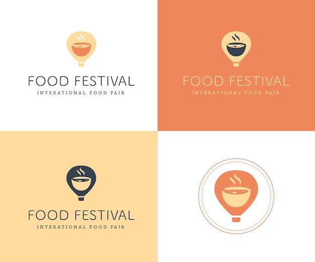 分離されたさまざまな色のバリエーションでベクトルフードフェスティバルのロゴテンプレート。レストラン、カフェ、ケータリング、フードサービスのエンブレムデザイン。気球とアロマボウルのイラストとロゴタイプ。