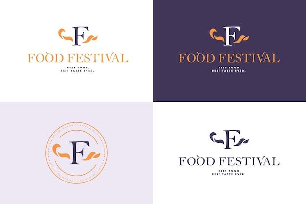 分離されたさまざまな色のバリエーションでベクトルフードフェスティバルのロゴテンプレート。レストラン、カフェ、ケータリング、フードサービスのエンブレムデザイン。モノグラム、ミニマルなエンブレムデザイン。