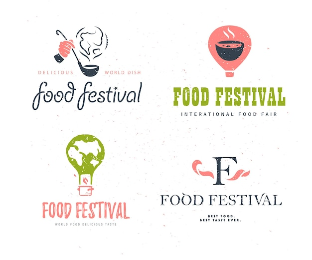 分離されたベクトルフードフェスティバルのロゴテンプレートセットのバリアント。レストラン、カフェ、ケータリング、フードサービスのエンブレムデザイン。スクープと煙、気球、地球の形のイラストを保持している人間の手。