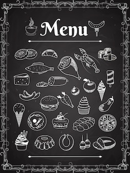 チョークボード上のベクトル食品メニュー要素