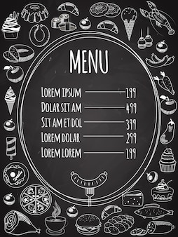 Vector food menu written on chalkboard with food decoration on side