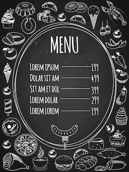 Menu cibo vettoriale scritto sulla lavagna con decorazioni di cibo sul lato