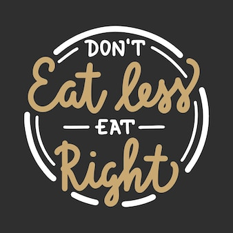 Vector food and sport motivational healthy lifestyle poster dont eat less eat right