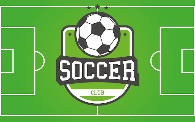 Vector football field and soccer logotype for your league, club, team or tournament.