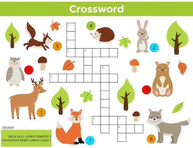 ベクトル森林動物クロスワード英語。