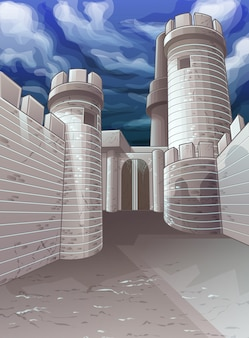 Vector fortress and sky background.