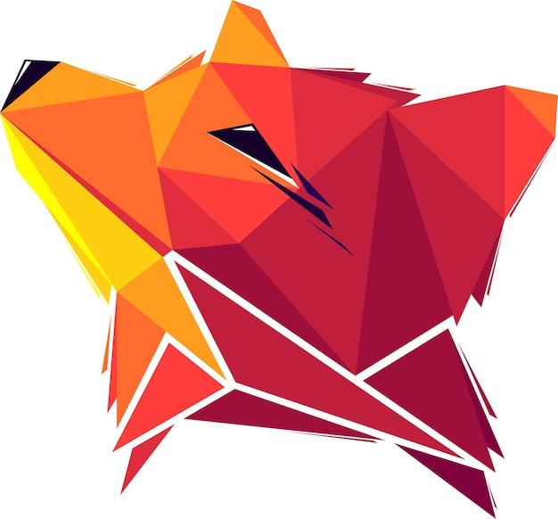Vector fox in low poly style. digital art