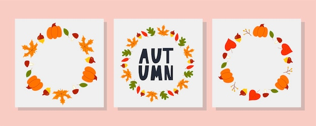 Vector fram of autumn leaves and fruit in watercolor style beautiful round wreath