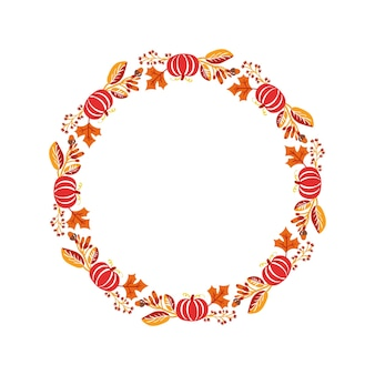 Vector frame autumn bouquet wreath. orange leaves, berries and pumpkin isolated on white background with place for text. perfect for seasonal holidays, thanksgiving day.