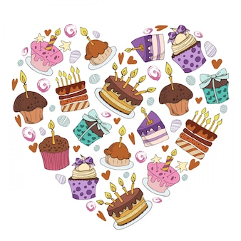 Vector frame of cakes