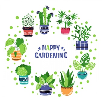 Vector frame of cartoon house potted plants. lettering