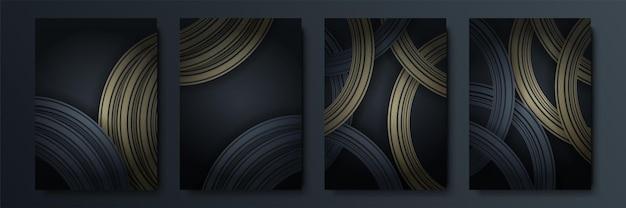 ヒップスターのためのテキストモダンアートグラフィックスのベクトルフレーム。ダイナミックフレームスタイリッシュな幾何学的な黒の背景にゴールド。デザイン名刺、招待状、ギフトカード、チラシ、パンフレットの要素