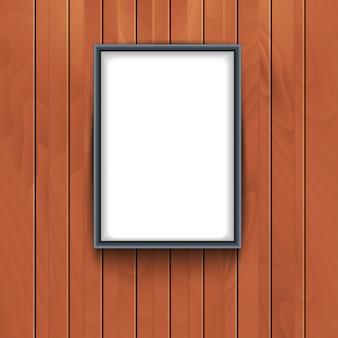 木製の壁の背景にベクトルフレーム。フォトアート飾り空枠展