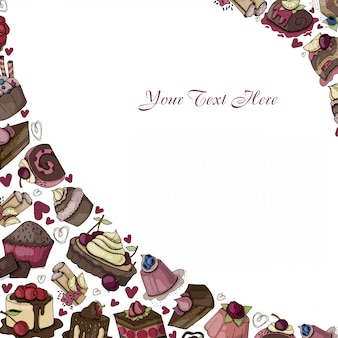 Vector frame of sweets, deserts, cakes, cartoon food