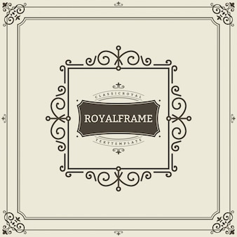 Vector frame template. vintage ornament greeting card.