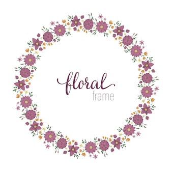 Vector frame template with flat trendy wild flowers with reeds on white space. card with place for text. floral design for invitation, wedding, party, promo events.
