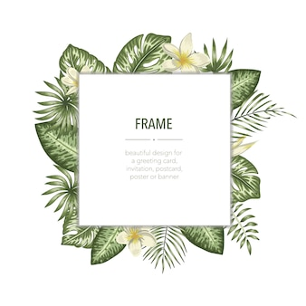 Vector frame template with tropical leaves and flowers with white place for text. square layout card with place for text. spring or summer design for invitation, wedding