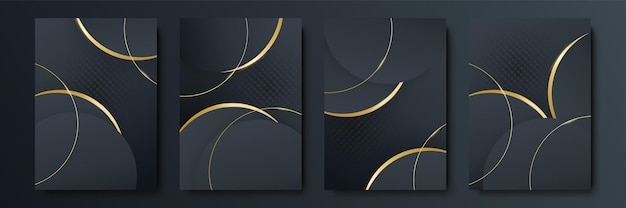 Vector frame for text modern art graphics for hipsters. dynamic frame stylish geometric black background with gold. element for design business cards, invitations, gift cards, flyers and brochures