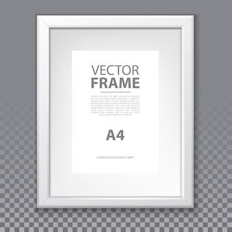 A4 페이지와 투명 한 배경에 절연 플라스틱 테두리 벡터 프레임. 갤러리 또는 광고, 전시회 또는 박물관을위한 사진 또는 그림 테두리 템플릿. 예술에 대한 빈 현실적인 상자